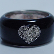 Vintage Jewelry 925 Sterling Silver Black Enamel Diamond Finish Heart Ring Band