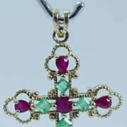 "Vintage ""10K Yellow Gold"" .60ct High Quality Emerald and 1.4 ct Ruby Cross Pendant"
