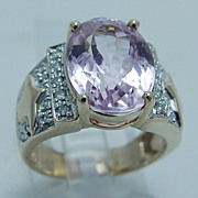 "Pink Kunzite 0.20ct Diamond ""14K Yellow Gold"" Ring Large 7.9 Grams Size 6.75 (can be sized)"