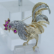"High Quality ""18K Yellow Gold"" Ruby VS1 Diamond Rooster Pin Brooch 7.4 Grams Made in Italy"