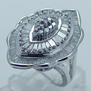 Sparkling 925 Sterling Silver 2.30cts Diamonds Large Cocktail Ring 7.4 Grams Size 7.25 (can be sized)