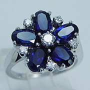 "Estate ""14K White Gold"" Genuine Sapphire Diamonds Flower Ring"