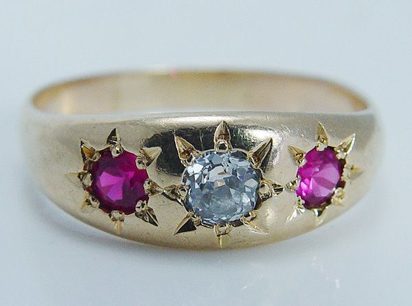 "Vintage Jewelry 1910s Old Miner Diamond Ruby ""14K Yellow Gold"" Ring Band Hallmarked"