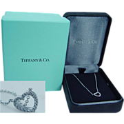 "Authentic ""18K White Gold"" Tiffany&Co White Diamonds Heart Pendant Necklace Chain w/Box Long 16 inches"