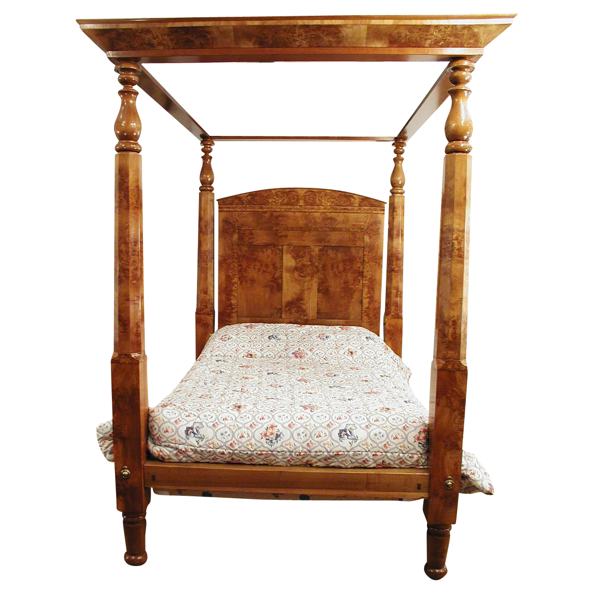 Four Poster Canopy Bed  American c. 1840 Empire Burl Maple