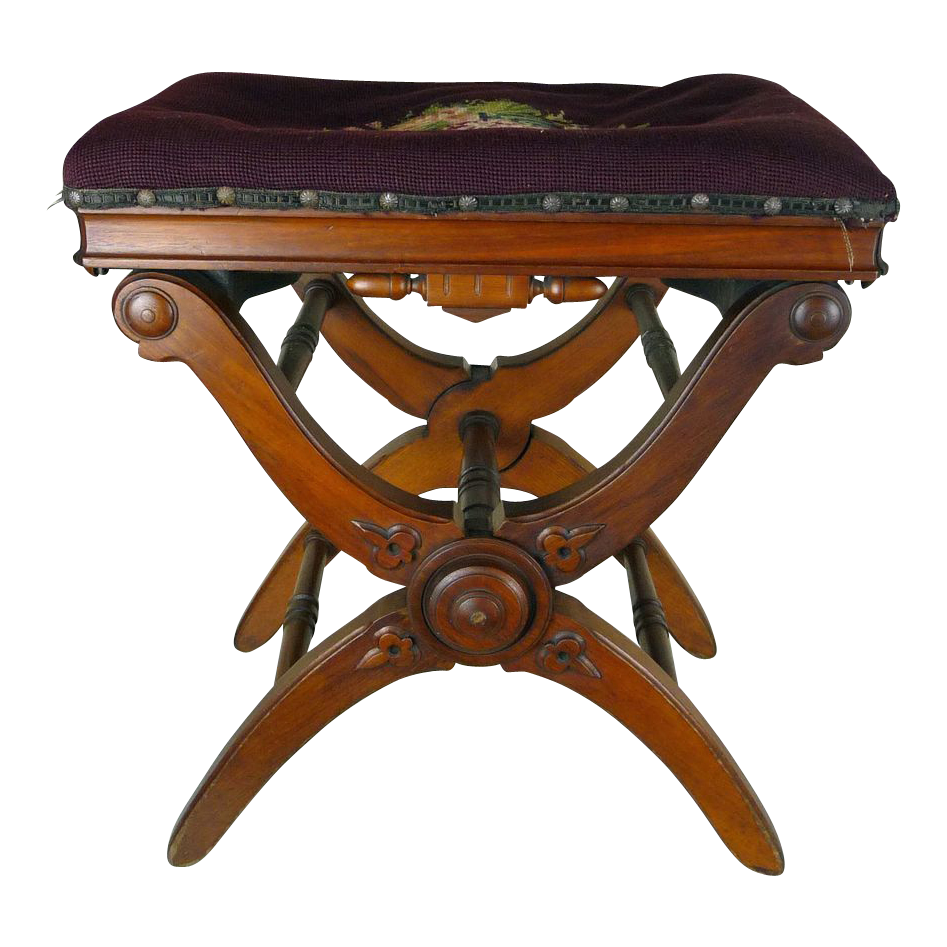 Superior Adjustable Piano Stool American Victorian C. 1870s