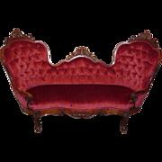 American Victorian Triple Arch Sofa  Rosewood Circa 1860