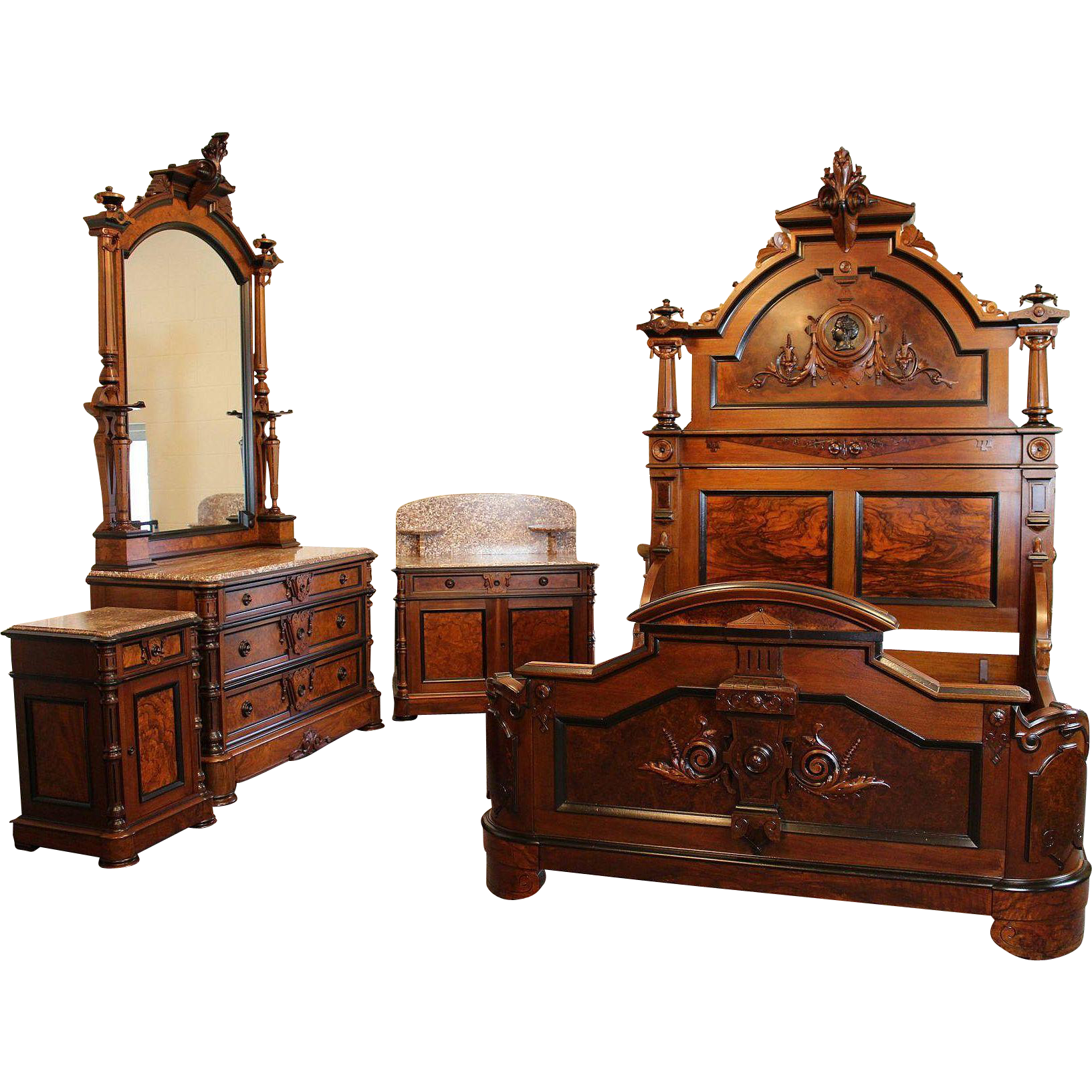 American Victorian Bedroom Suite C 1870 S From