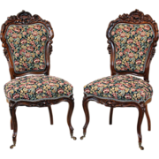 Pair of American Victorian Side Chairs in Rosewood c.1860