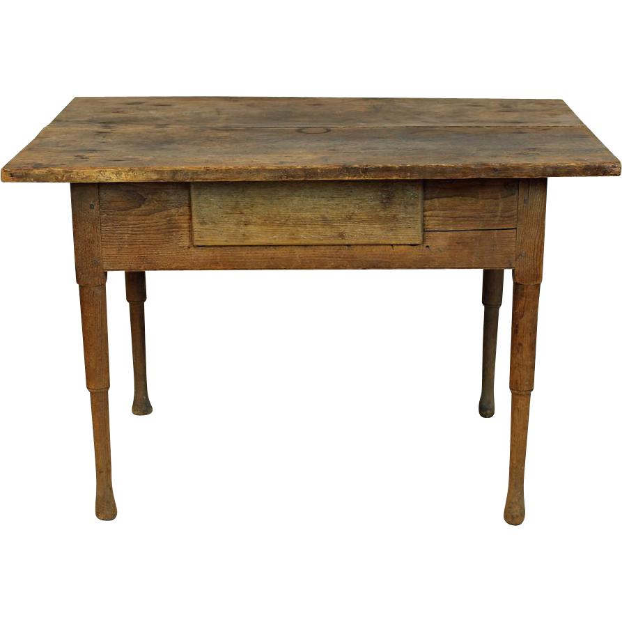 Primitive country pine table with drawer american c 1850 for C table with drawer