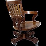 Mahogany Swivel Desk Chair American c.1900
