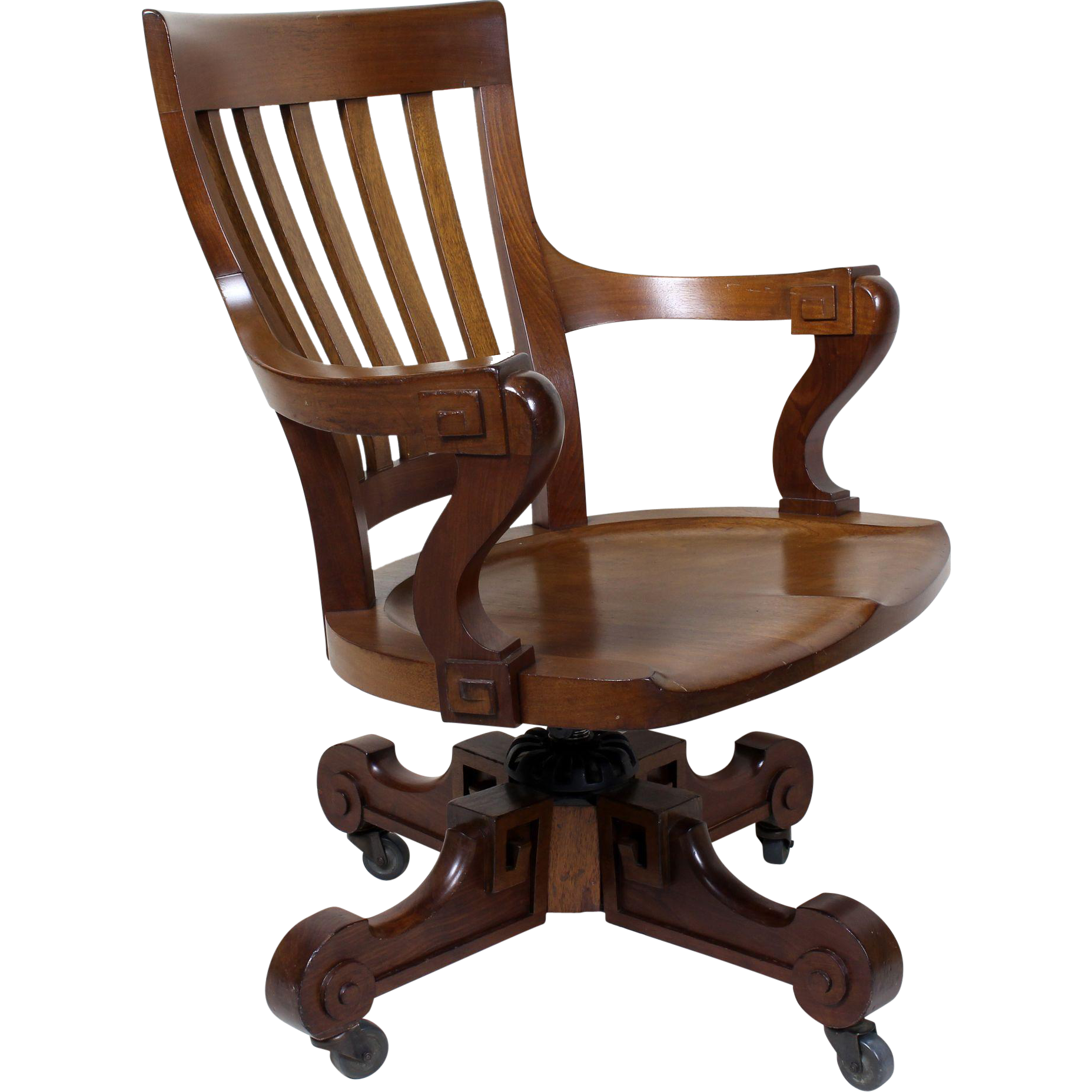 Mahogany Swivel Desk Chair American C 1900 From