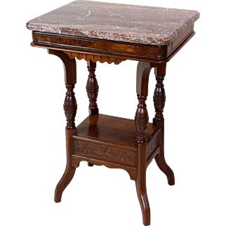 Marble Top Lamp Table American Victorian c. 1880
