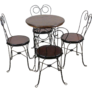 Ice Cream Parlor Table and Four Chairs c. 1910