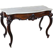 Antique American Victorian Marble Top Table J. and J. W. Meeks in Rosewood c. 1850s