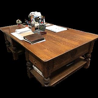 Partners Desk in Quartersawn Tiger Oak c. 1890