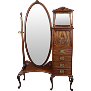 Cheval Mirror Lingerie Chest American c. 1890's