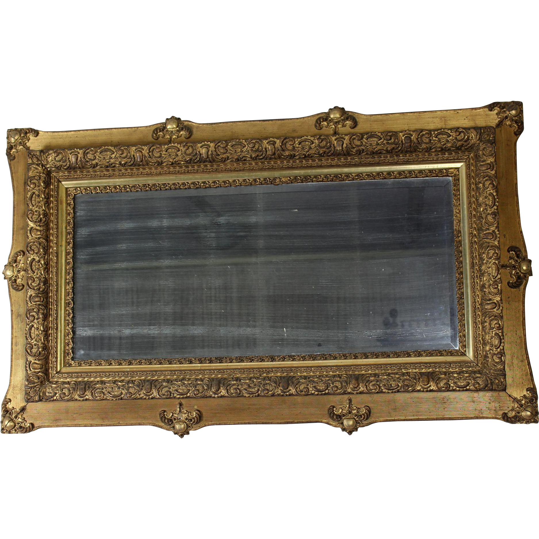 Beveled mirror in gold frame c 1890 from dixonsantiques for Beveled mirror