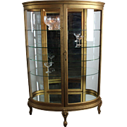 Oval Curved Glass Curio Cabinet c. 1900