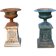 Pair of Garden Urns on Pedestals c. 1890