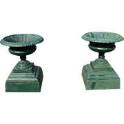 Pair of Walbridge Cast Iron Garden Urns c. 1890's