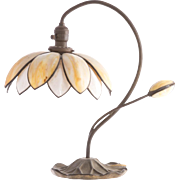Handel Art Nouveau Gilt-Metal and Bent Slag Glass Water Lily Lamp