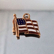 Vintage Enamel United States Flag of America 14K Gold Charm