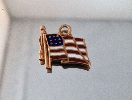 Carlisle (AR) United States  City new picture : Vintage Enamel United States Flag of America 14K Gold Charm from ...