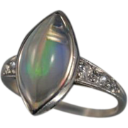 Jelly Opal & Diamond Platinum Edwardian Ring ~Sz 6