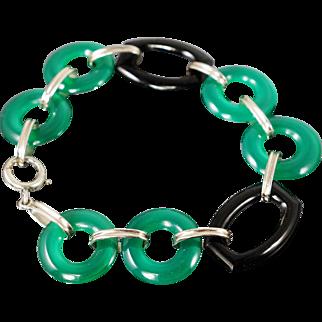 Outstanding Art Deco 18K Carved Black & Green Onyx Bracelet
