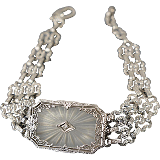 Oversized Art Deco 14K Camphor Glass Diamond Bracelet