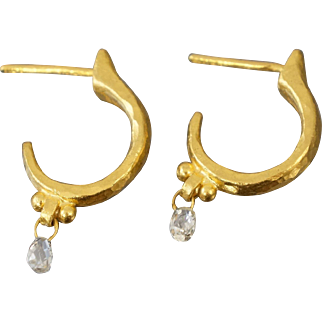 Gurhan 24k .999 Gold & Diamond Hoop Earrings