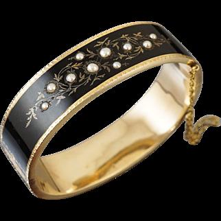 Victorian 14K Enamel Pearl Bracelet