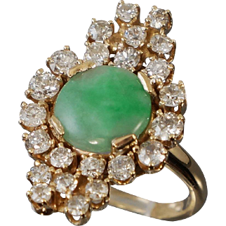 Outstanding 14K Jadeite Diamond Cocktail Ring