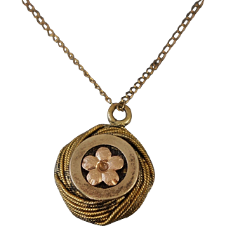 Victorian Gold Filled Fob Flower Necklace 15""