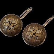 Victorian 10K Converted Enamel Earrings