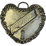 Victorian Sterling Heart Padlock Luggage Tag