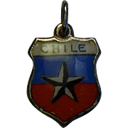 Sterling Chile Enamel Shield Travel Charm