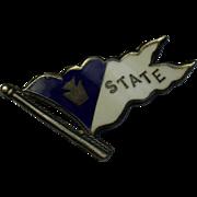 Antique Penn State University Enamel Sterling Flag Pin