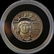 2003 25 Dollar Platinum Eagle $25 .9995 1/4 Mint Coin