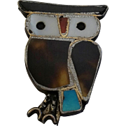 Native American Sterling Silver Owl Pin