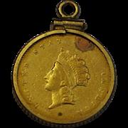 1855 1 Dollar US Gold Coin Charm 14K 90% Gold