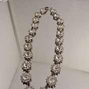 Art Deco Daisy Open Back Rhinestone Necklace Choker