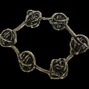 Modernist Sterling Knotted Ball Bracelet