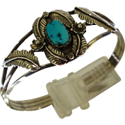 Native American Sterling Turquoise Cuff Bracelet 2