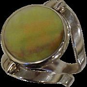Vintage Sterling Flip Ring Abalone Shell Spinner Adjustable Sz 7