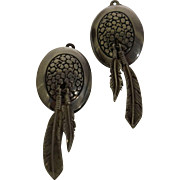 Native American Sterling Feather Clip Earrings Signed