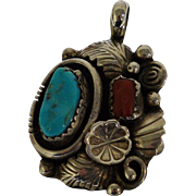 Native American Sterling Coral & Turquoise Pendant Necklace