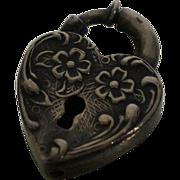 Vintage Sterling Heart Padlock Charm Puffy