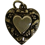 Sterling Repousse Puffy Heart Charm